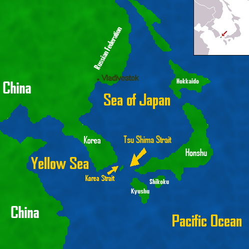 A Map Of East Asia Showing China, Korea And Japan.