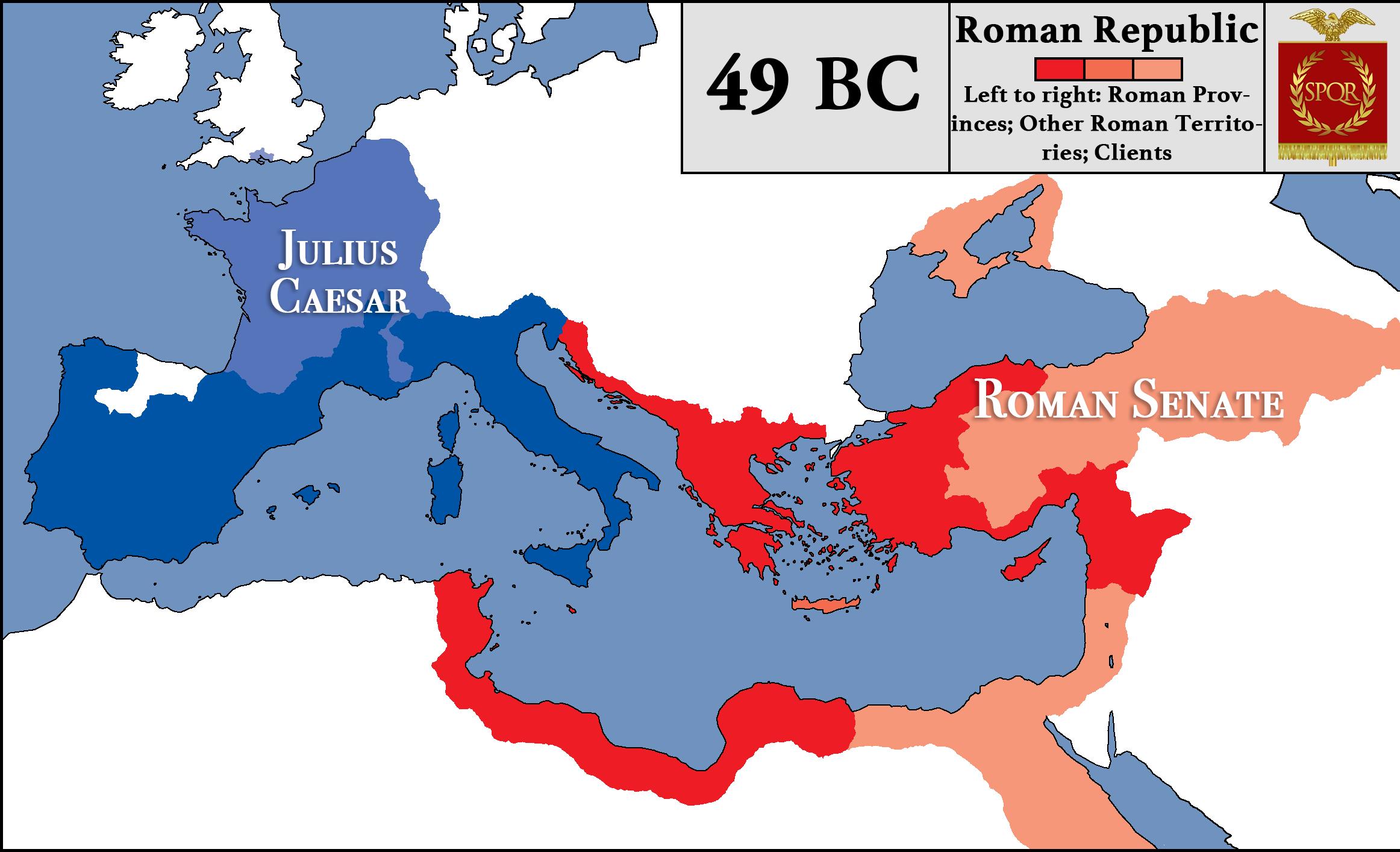 Roman Republic At The Beginning Of Caesars Civil War - Map of rome under caesar