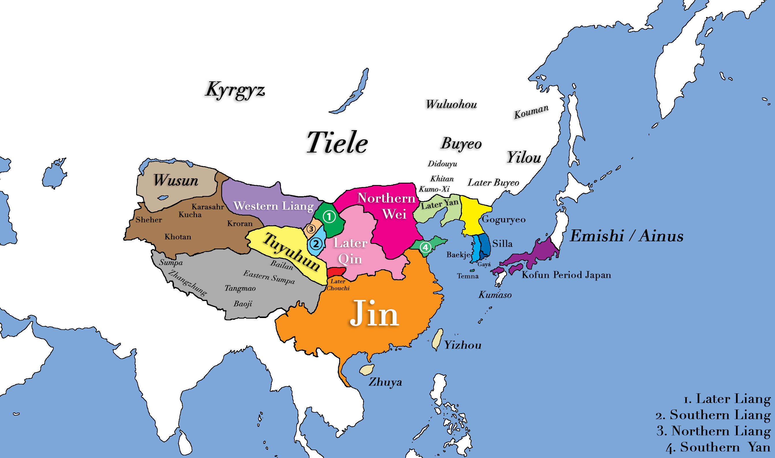 East Asia in 400 CE (Illustration)   Ancient History Encyclopedia