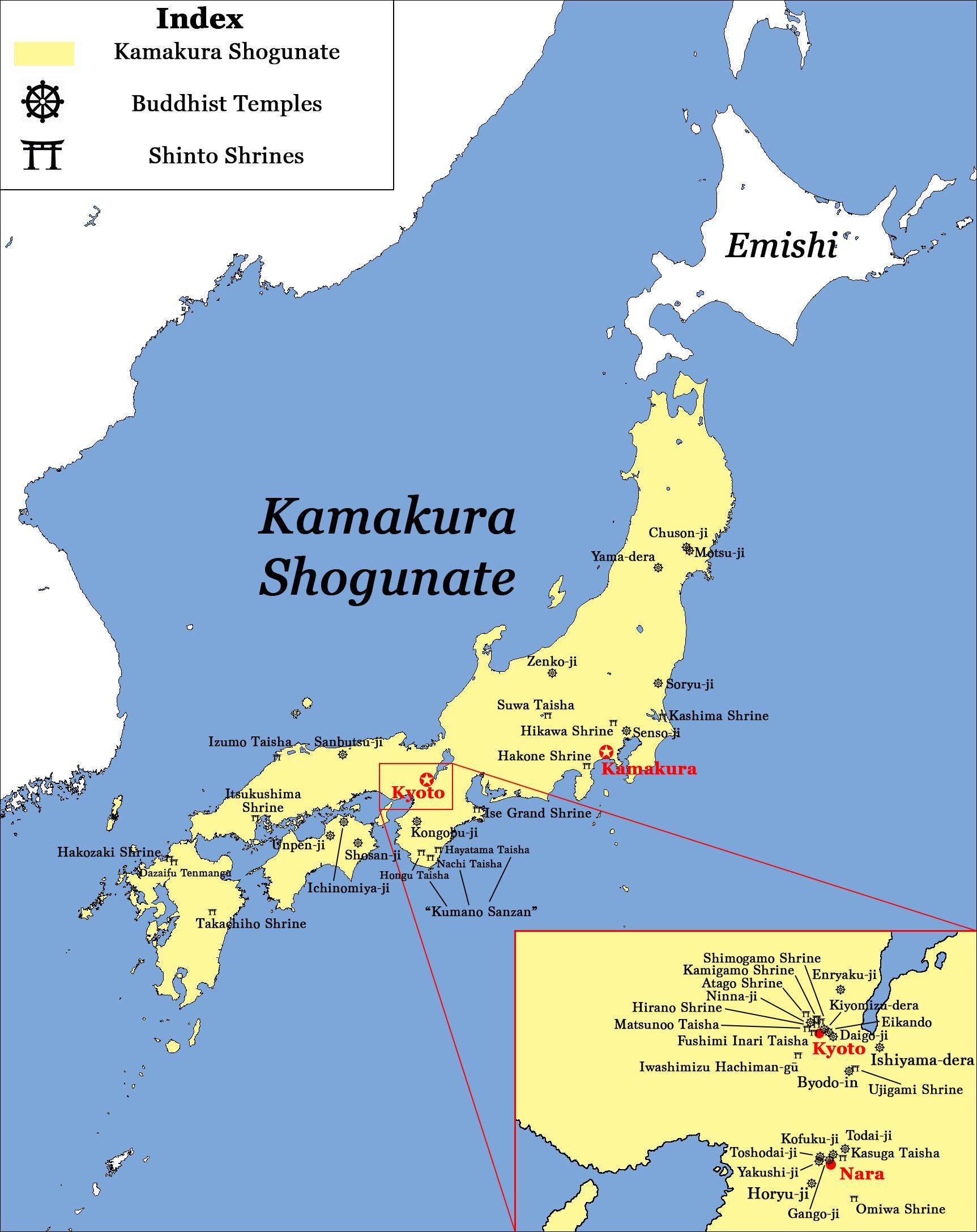 Major Temples and Shrines of Japan circa 1200 CE, Kamakura