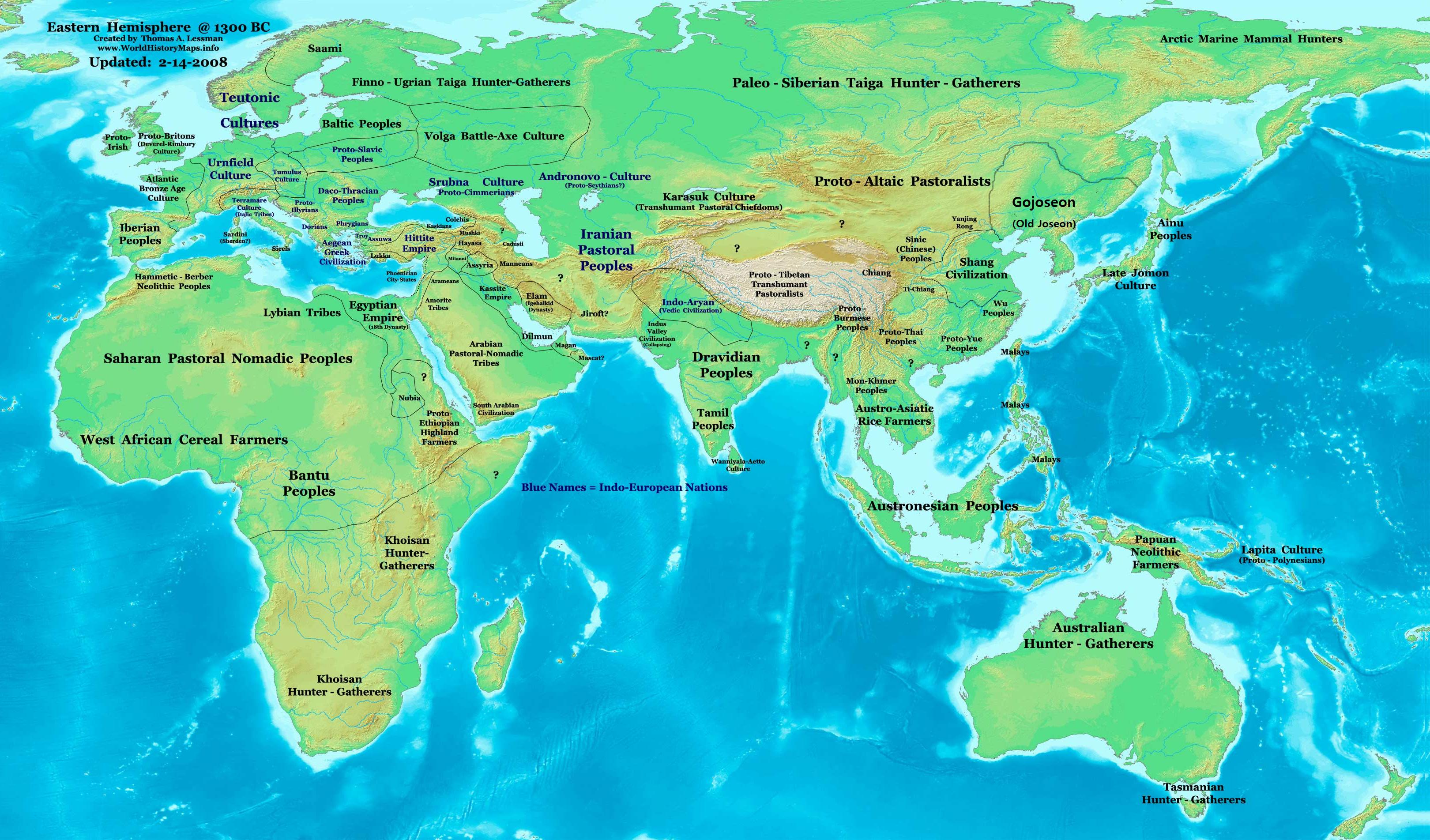 Eastern Hemisphere In 1300 BC