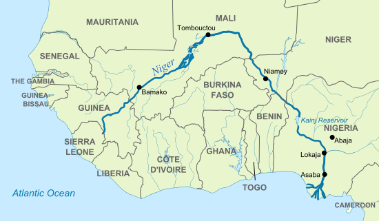 Niger River On A Map Of Africa Map of Niger River (Illustration)   Ancient History Encyclopedia