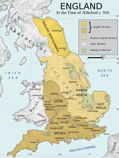 Map Of England Over Time.England Around 910 Ce Illustration Ancient History Encyclopedia