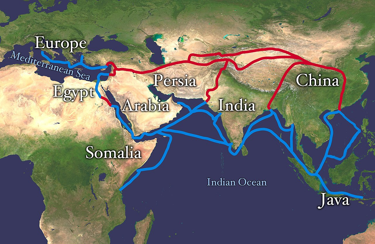 Map of the silk road routes illustration ancient history this map indicates trading routes used around the 1st century ce centred on the silk road the routes remain largely valid for the period 500 bce to 500 ce publicscrutiny Images