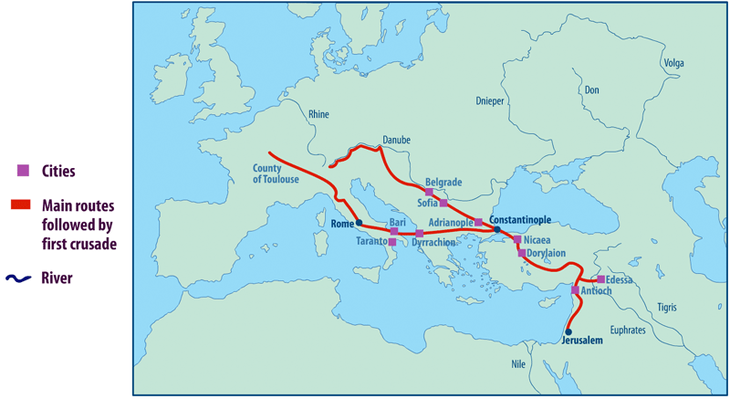 Map Of The Crusades Map of the First Crusade Routes (Illustration)   Ancient History