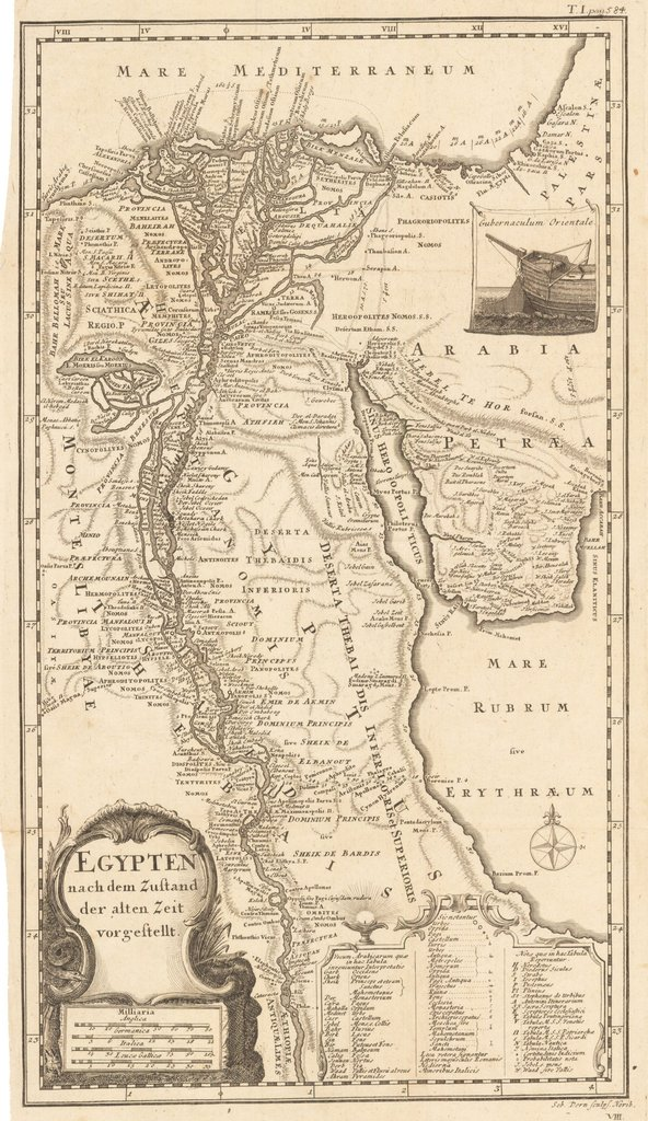 This Map Of Egypt With Information From Ancient Times Is Labeled In Latin.  It Shows The Course Of The Nile From Ancient Ethiopia And Philae All The  Way To ...