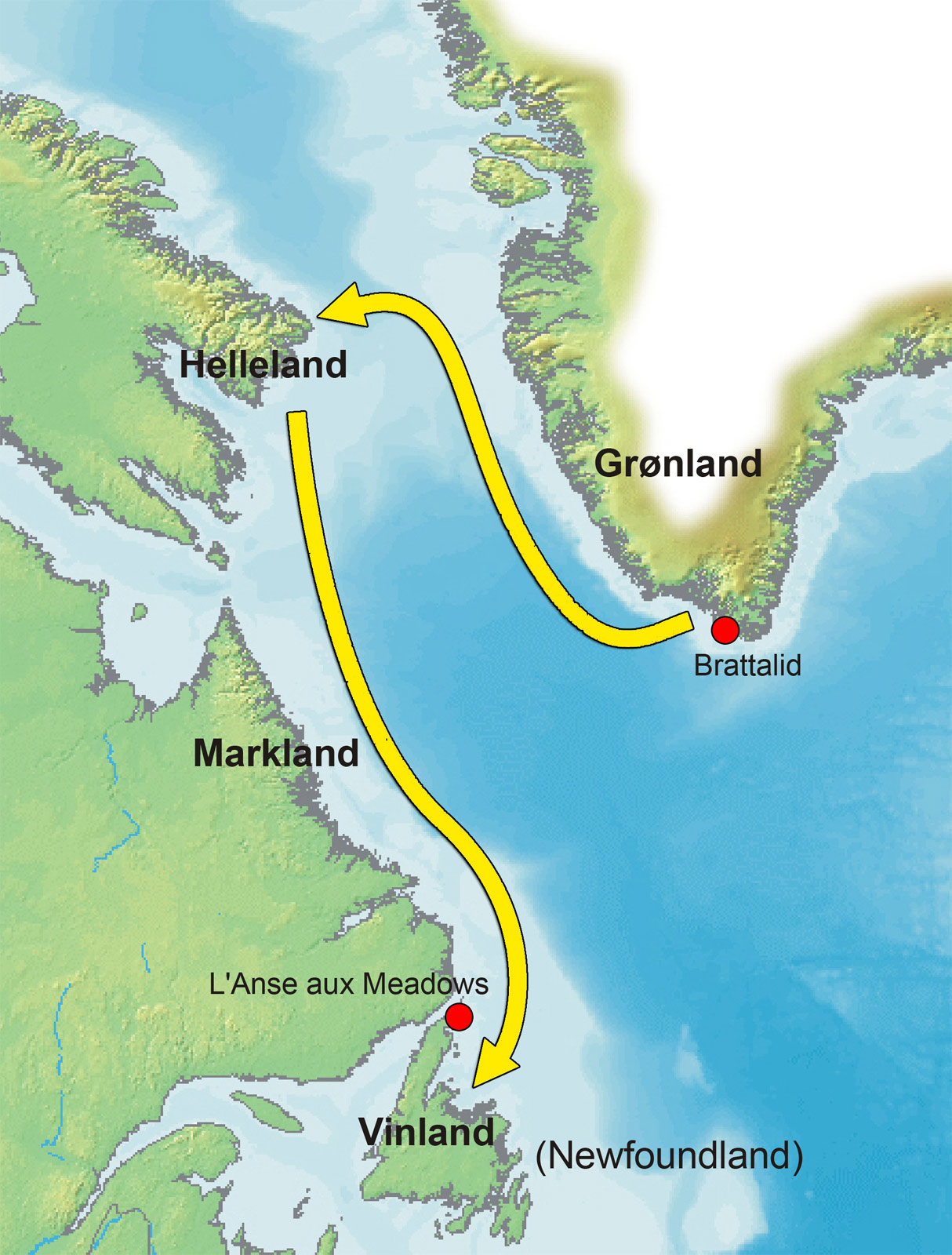 Leif Ericson Map Route Map of the Greenland Vinland Voyage (Illustration)   Ancient
