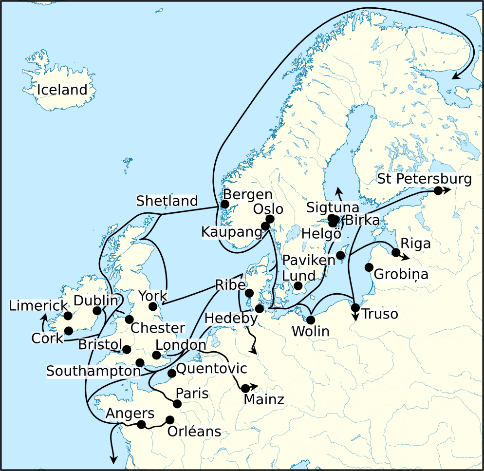 Viking Age Trade Routes In North West Europe Illustration