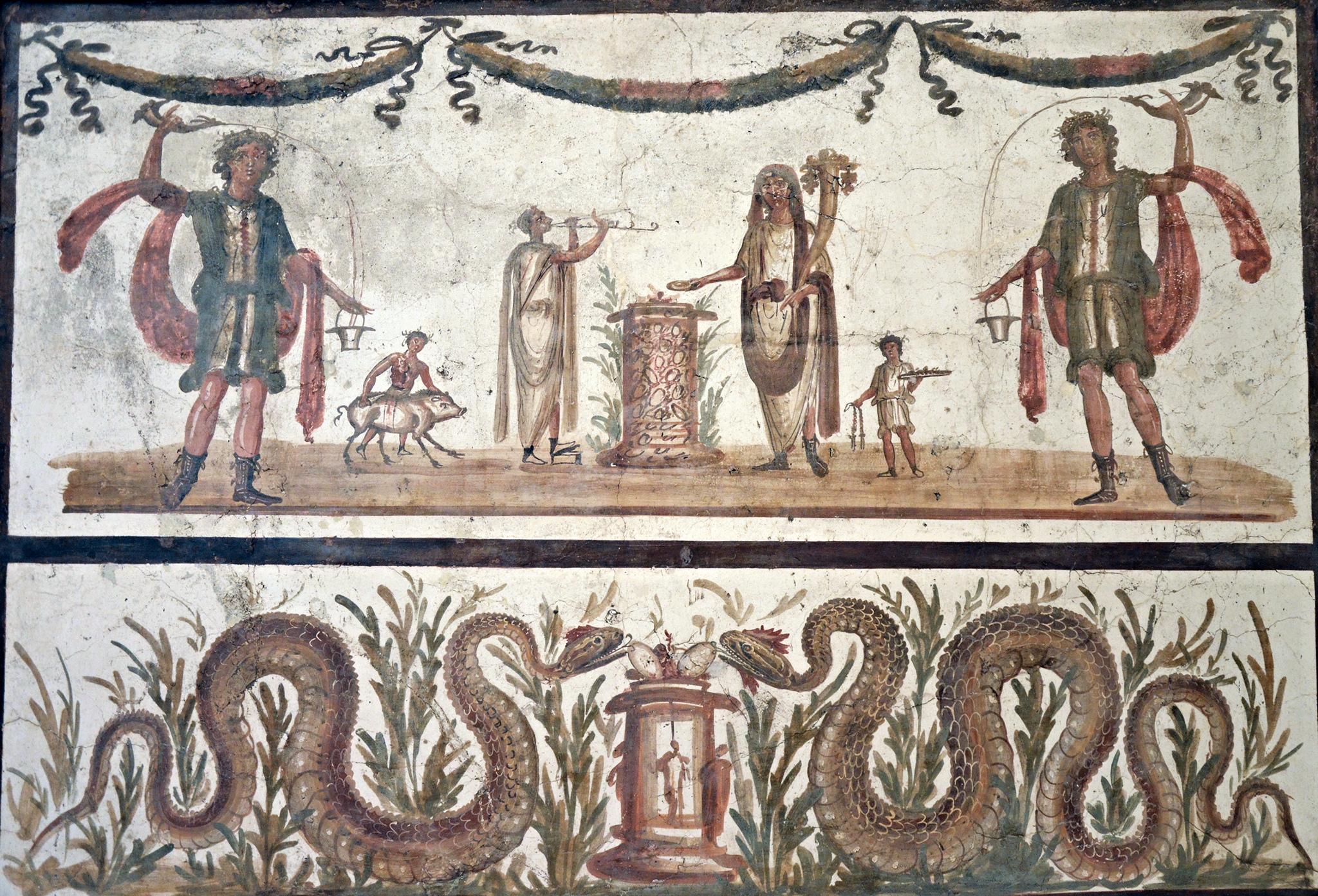 Pompeii Fresco with Lares