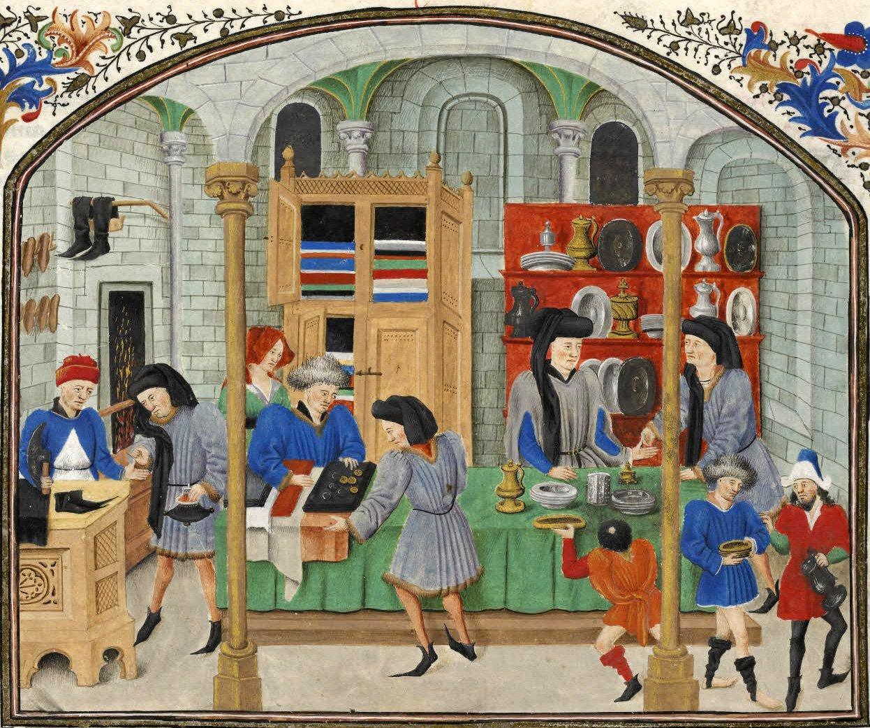Gammelt maleri fra 1500 tallet, strikkeprodukter selges på marked