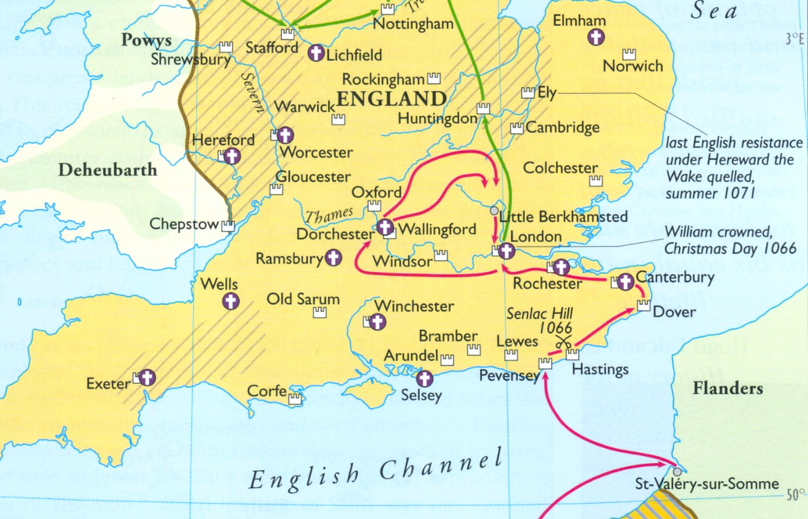 Map Of Uk 1066.Map Of William The Conqueror S 1066 Ce Campaigns