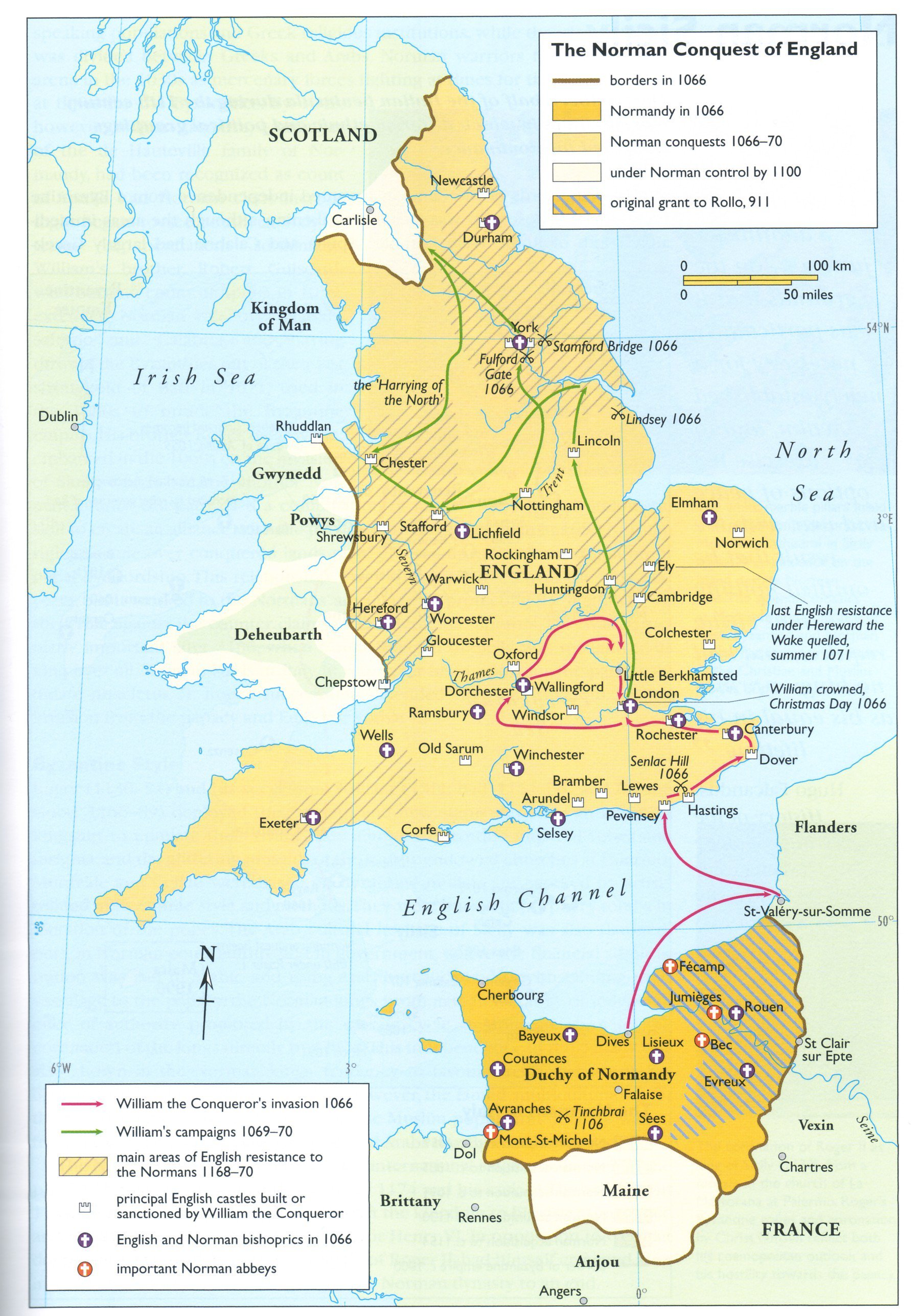 Map Of The Norman Conquest Of England Illustration Ancient