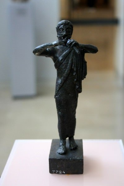 Bronze Aulos Player Figurine