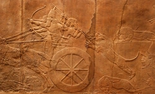 Royal Lion Hunt on Chariot