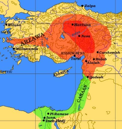 Imperio hitita c. 1300 a. C.
