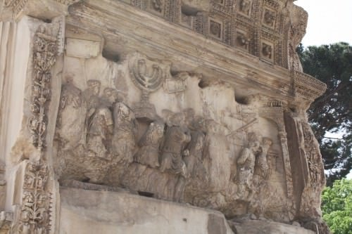 The Arch of Titus, Rome, depicting the Roman triumph at Jerusalem.