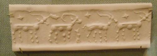 Sello del cilindro, animales con cuernos