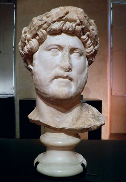 Marble Head of Hadrian With Laurel Wreath
