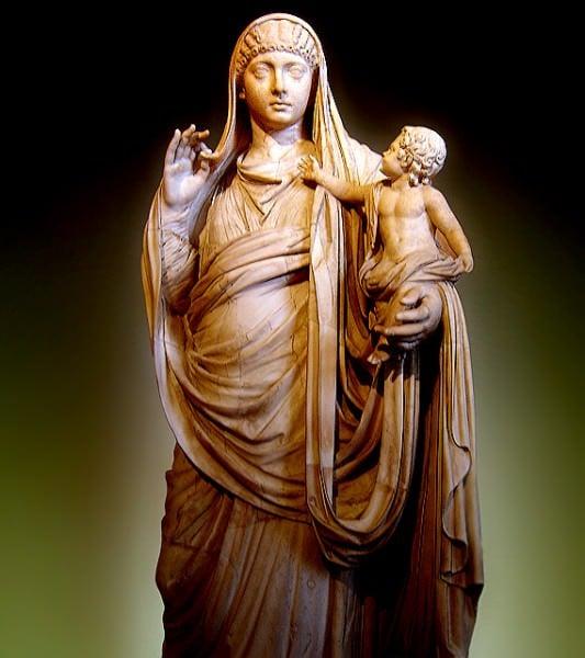 Messalina holding Britannicus, Marble, ca. 45 AD.