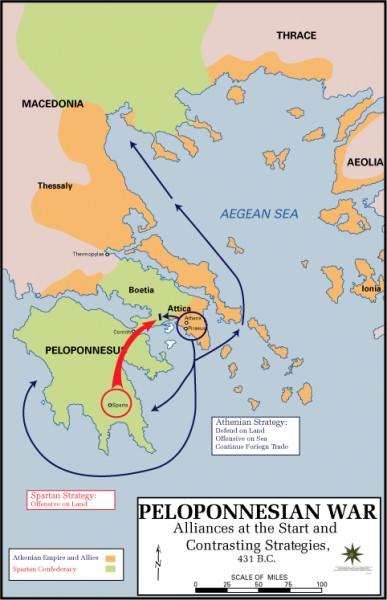 Mapa da Guerra do Peloponeso, começando