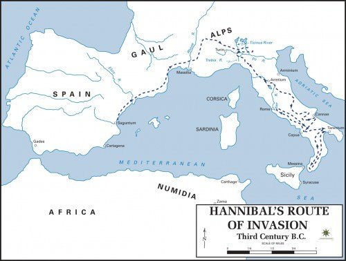 Map of Hannibals Route into Italy