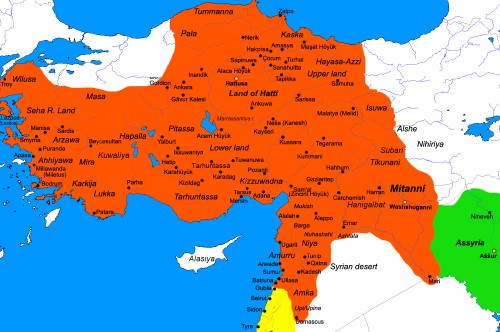 Map of the Hittite Empire (c. 1300 BC)