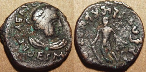 Coin of both Hermaios and Kujula Kadphises