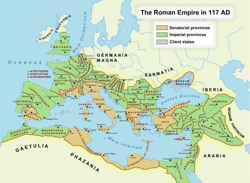 Imperio Romano en 117 CE