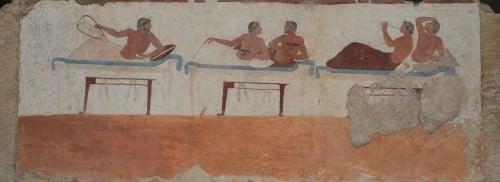 Pintura de Paestum, escena de un Simposio