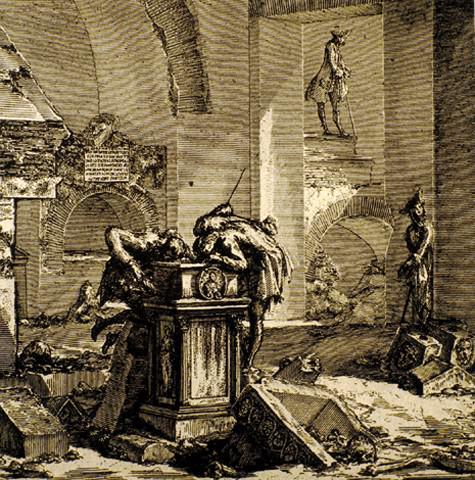 Columbarium Ser desnudado por los cazadores del tesoro del siglo XVIII