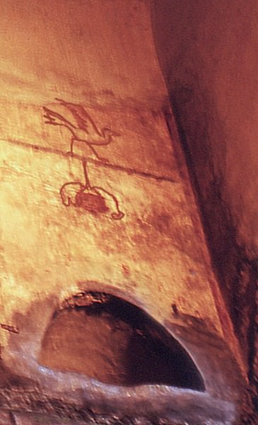 Fresco de pájaro y máscara grotesca colgante, Columbarium Vigna Codini 3