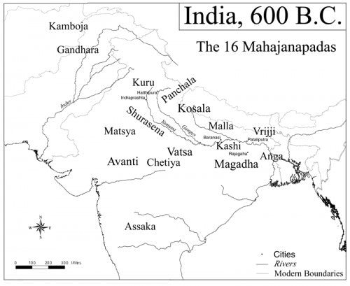 Map of India, 600 BCE