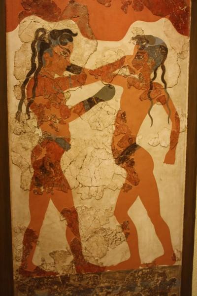 Boxers Fresco, Akrotiri, Thera