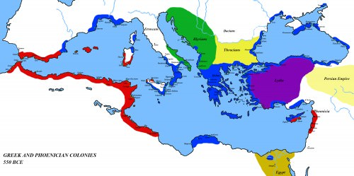 Map of the Mediterranean 550 BC