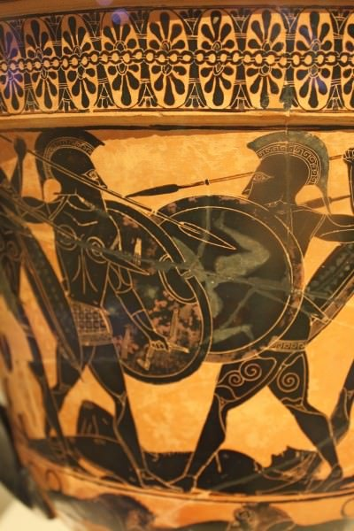 Black-Figure Warrior Scene