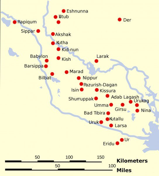 Map of Sumer and Elam