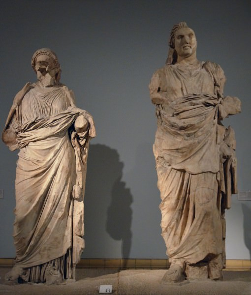 Colossal statues of Maussollos and Artemisia II