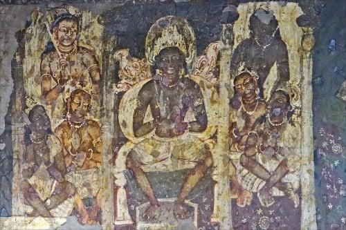 Buda con sus discípulos