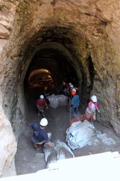 The entrance to Gezer's water system during the 2011 excavations.