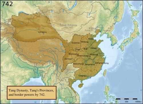 Provincias de la dinastía Tang c. 742 CE
