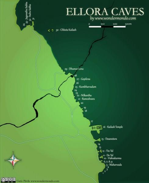 Mapa de Cuevas de Ellora