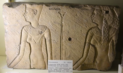 Ptolemaic slab with 2 goddesses