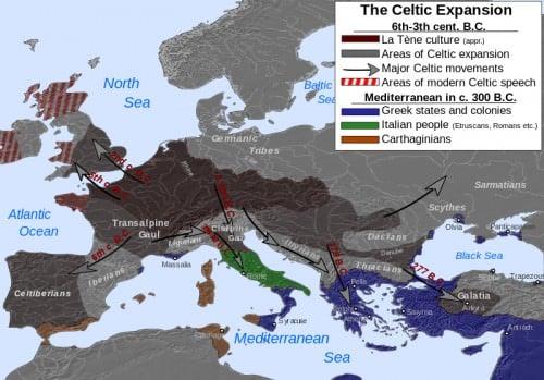 Mapa de la expansión céltica: siglos VI-III aC