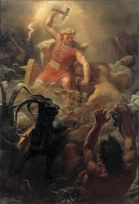 Thor luchando gigantes