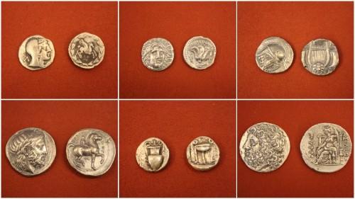 Monedas de plata griegas antiguas