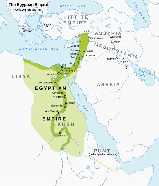 Map of the New Kingdom of Egypt, 1450 BC