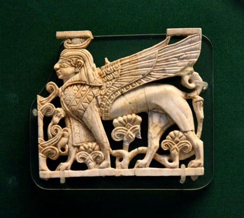 Nimrud Ivory Plaque of a Egyptian Sphinx