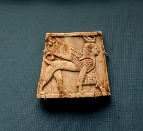 Nimrud Ivory Panel of a Winged Sphinx