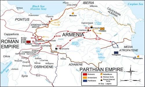 Map Roman-Parthian War, 58-60 CE