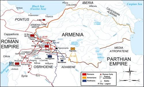 Mapa da Guerra Romano-Parta, 61-63 dC